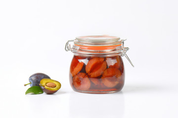 Jar of plum compote