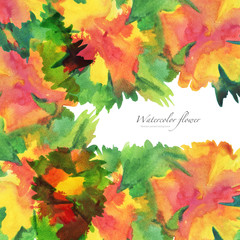 Watercolor flower painted background.