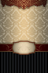 Wall Mural - Vintage background with decorative patterns and elegant frame.