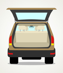 Simple cartoon of an empty car baggage
