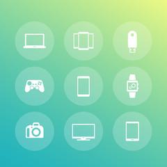 Gadgets icons (laptop, tablet, tv, smart watch, dslr)