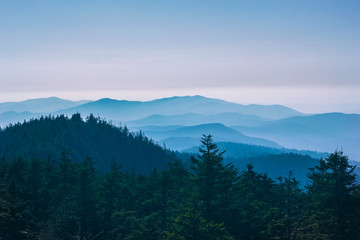 Aluminium Prints Blue sky View on Smoky Mountains at sunset.