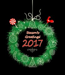 Seasons greeting with xmas hanging decorative wreath