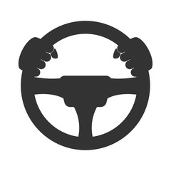 Driver icon. Flat icon of steering wheel on white background