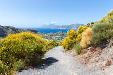 Hiking trail at Vulcano, Aeolian Islands near Sicily, Italy