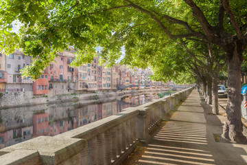 Embankment of Onyar river in Girona