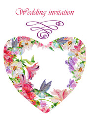 Watercolor flowers heart. Handmade greeting cards.