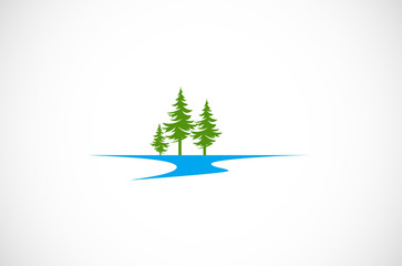 pine tree water vector