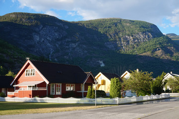 Wooden houses in Laerdal, Norway