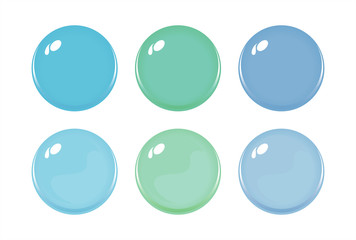 Illustration of icon bottons isolated on white. Set of light blue, green, blue color labels, 6 bottons. Multi-colored glass balls. Vector
