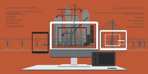 Building, design, architecture, construction infographics, construction industry, vector illustration for web site design template, illustrations for publishing and printing.