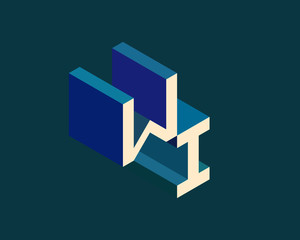 WI isometric 3D letter logo. three-dimensional stock vector alphabet font typography design.