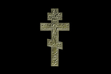 Ancient orthodox iron cross on black
