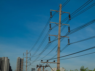 electric pole , Blue background..