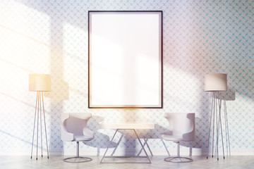 Furnished interior with frame toning