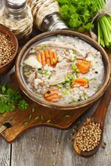 Soup with buckwheat