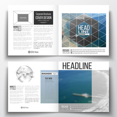 Set of annual report business templates for brochure, magazine, flyer or booklet. Colorful polygonal backdrop, blurred background, sea landscape, modern triangle vector texture
