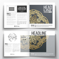 Set of annual report business templates for brochure, magazine, flyer or booklet. Golden microchip pattern on dark background, mandala with connecting dots and lines, connection structure. Digital