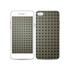 Mobile smartphone with an example of the screen and cover design isolated on white background. Islamic gold pattern, overlapping geometric square shapes forming abstract ornament. Vector stylish