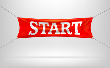 Red Start banners or flag.Vector illustration