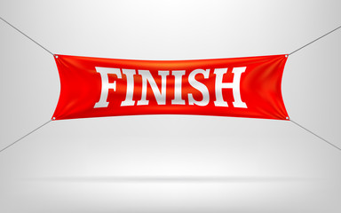 Red Finish banners or flag.Vector illustration