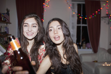 Young women at a party