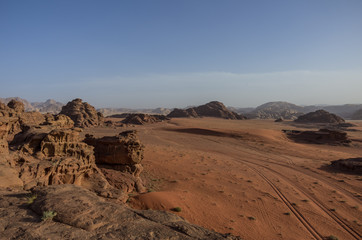 View of Nature, desert and rocks of Wadi Rum (Valley of the Moon) from sand dune, Jordan. UNESCO World Heritage.