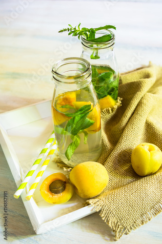 "Detox drink with mint and apricot"" Stock photo and royalty-free ..."