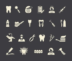 Dental icons. Vector Illustration.