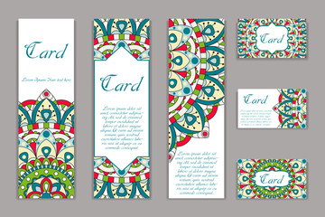 Invitation mandala design template. Graphic card with hand drawn ornament. Colorful eastern floral decor for greetings, wedding invitations, party cards