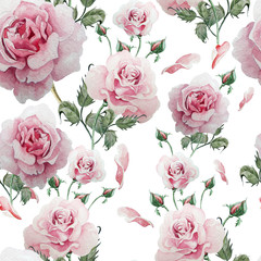 Seamless pattern with watercolor flowers. Rose.
