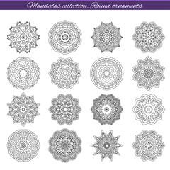 Set of decorative ethnic mandalas. Outline isolates ornament. Vector design with islam, indian, arabic motifs.