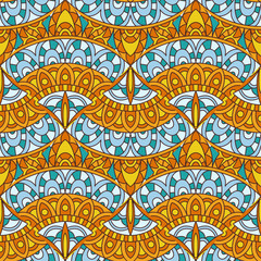 Vector seamless pattern with decorative elements. Geometric colorful pattern for printing