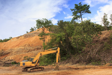 Deforestation environmental destruction of Borneo rainforest. Clearing jungle forest to make way for oil palm plantations.