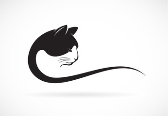Vector image of an cat face design on white background, Vector c
