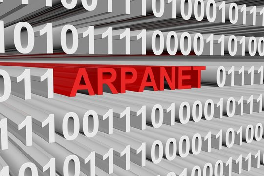 ARPANET in the form of binary code, 3D illustration