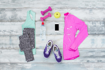 Workout kit on the wooden floor