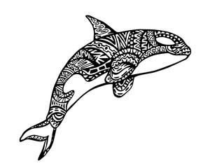 Ethnic Animal Doodle Detail Pattern - Killer Whale Zentangle Illustration