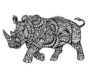 Ethnic Animal Doodle Detail Pattern - Rhinoceros Zentangle  Illustration
