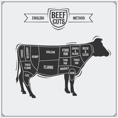 English cuts of beef. Vector illustration.