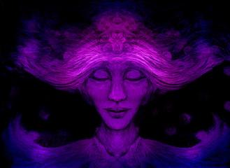meditative spiritual man on black background, drawing