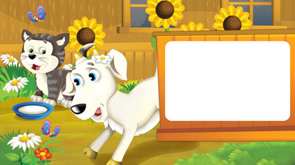 Cartoon scene with farm animals - goat and cat having fun playing together - illustration for children