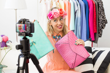Fashion blogger recording video