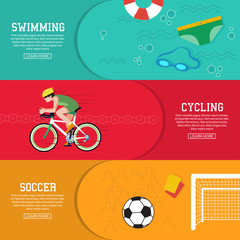 Summer sport horizontal banners set with bicycle and football ball. Swimming. Vector illustration.