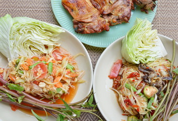 papaya salad eat couple with grilled chicken