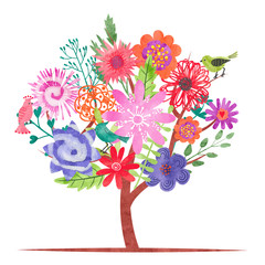 Watercolor blossom tree with abstract colorful flowers and birds. Vector illustration.