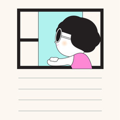 Thinking Of You Card Paper Note Character illustration