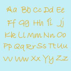 Hand drawn vector alphabet. English alphabet drawn with pieces o