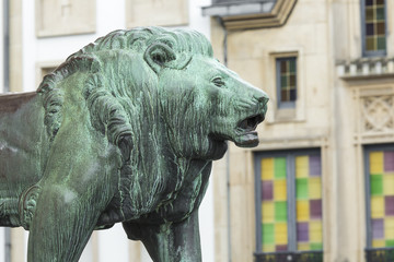 LUXEMBOURG CITY - LUXEMBOURG. Statue of Lion.