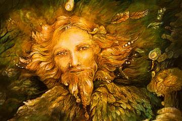 golden forest fairy guardian spirit, detailed illustration